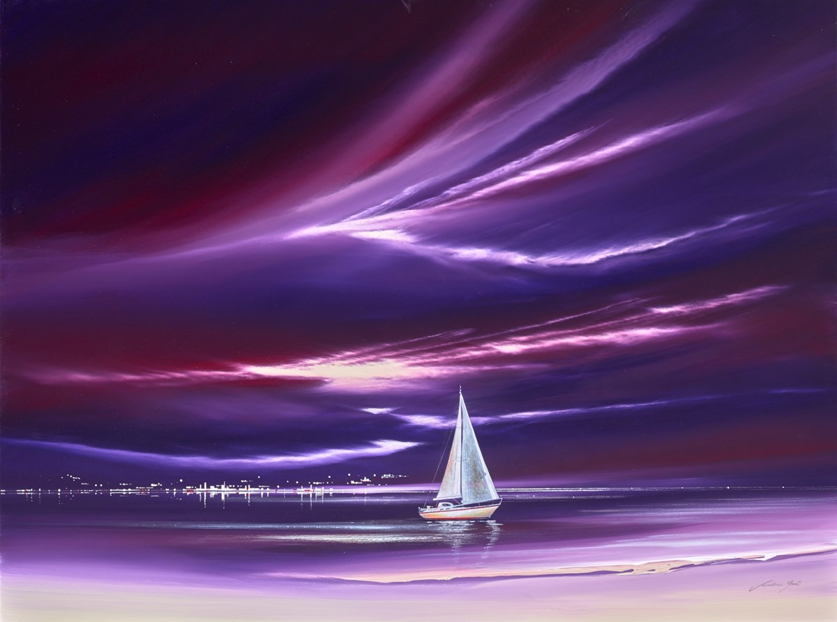 Purple Boat I by jonathan shaw -  sized 40x30 inches. Available from Whitewall Galleries